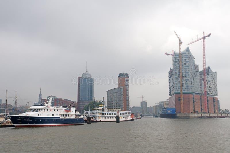 Hafencity Hamburg I Dimma Redaktionell Arkivfoto