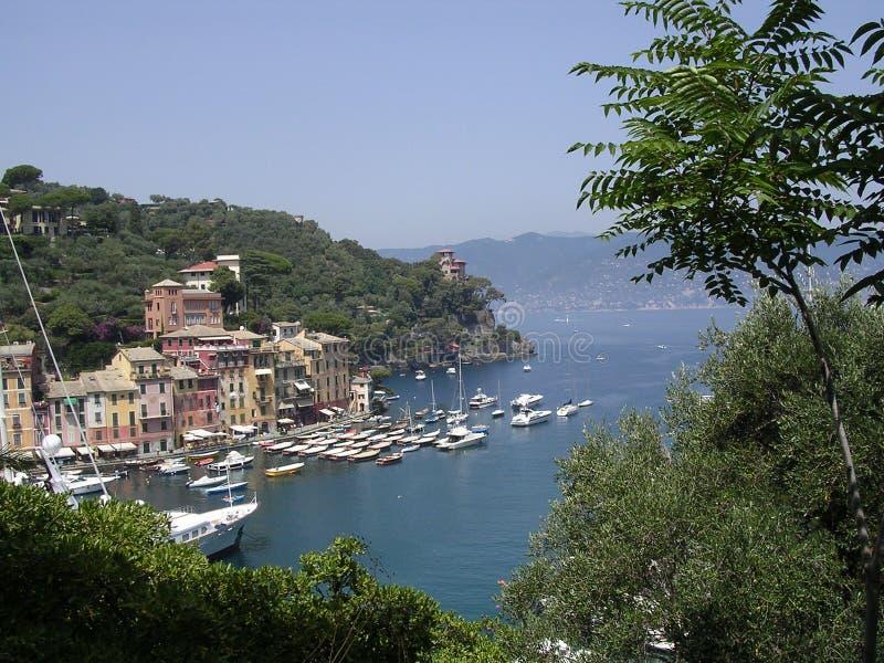 Hafeneingang zu Portofino, Italien, stockbilder