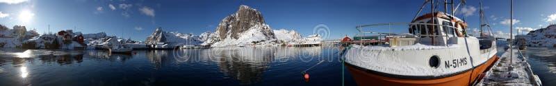 Hafenpanorama Lofoten stock afbeeldingen