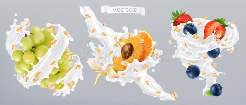 Haferflocken, Früchte und Milch spritzt Ikone des Vektor 3d vektor abbildung