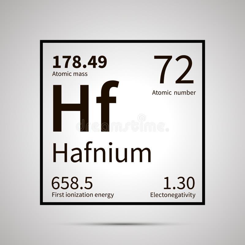 Hafnium chemisch element met eerste ionisatieenergie, atoomgewicht en electronegativitywaarden, eenvoudig zwart pictogram met royalty-vrije illustratie