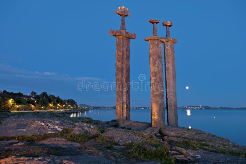 Hafrsfjord Klingen in der Felsennacht stockbild