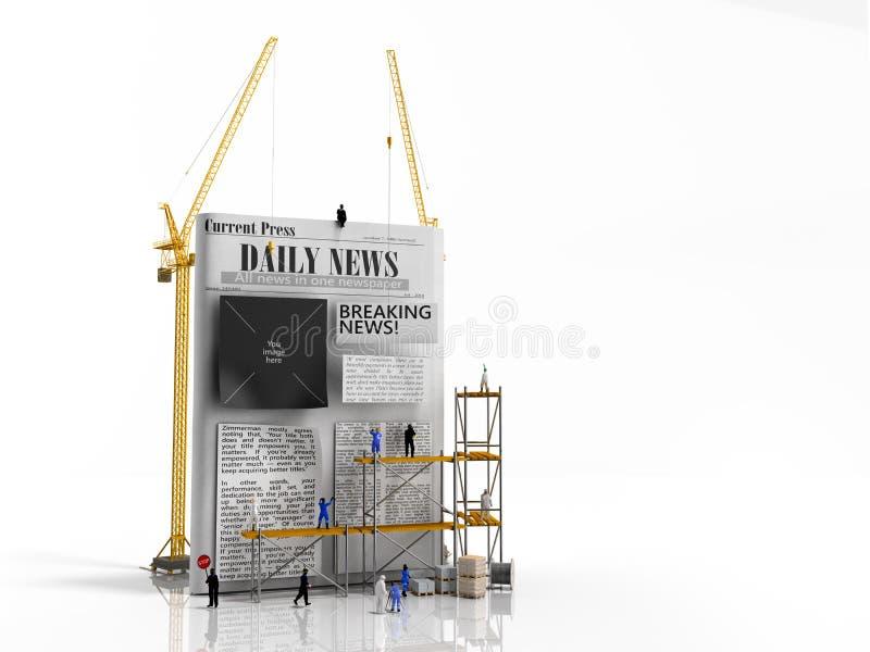 Haften errichtende Konzepterbauer der Nachrichten Zeitungskolumnen auf einem blan stock abbildung