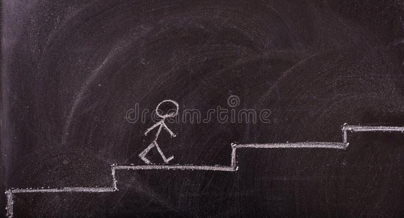 Haften Sie den Mann, der oben die Leiterzeichnung geht, lokalisiert, auf einer Tafel stockfotos