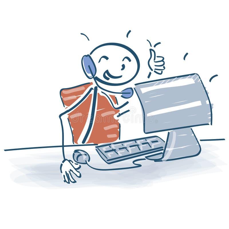 Haften Sie die Zahl, die an am Computer mit einem Kopfhörer sitzt stock abbildung