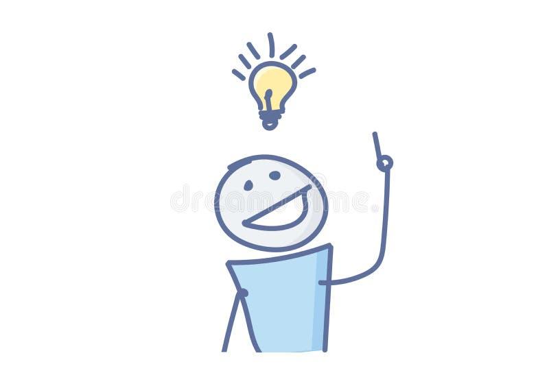 Haften Sie die Zahl, die eine kreative Idee mit einer Glühlampe über seinem Kopf hat Auch im corel abgehobenen Betrag vektor abbildung