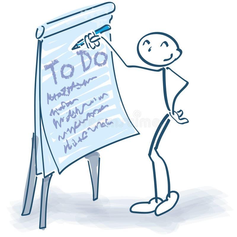 Haften Sie Zahl mit Flip-Chart und ToDo-Liste lizenzfreie abbildung