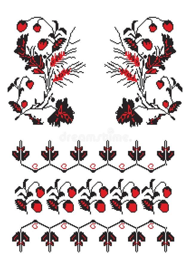 haftuje deseniowego truskawkowego ukrainian ilustracja wektor