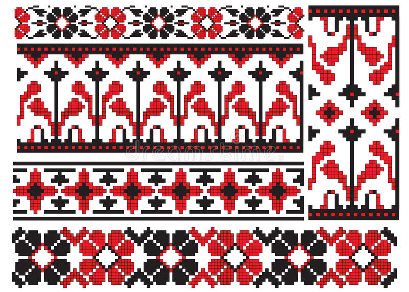 haftuje kwiatu ukrainian ilustracja wektor