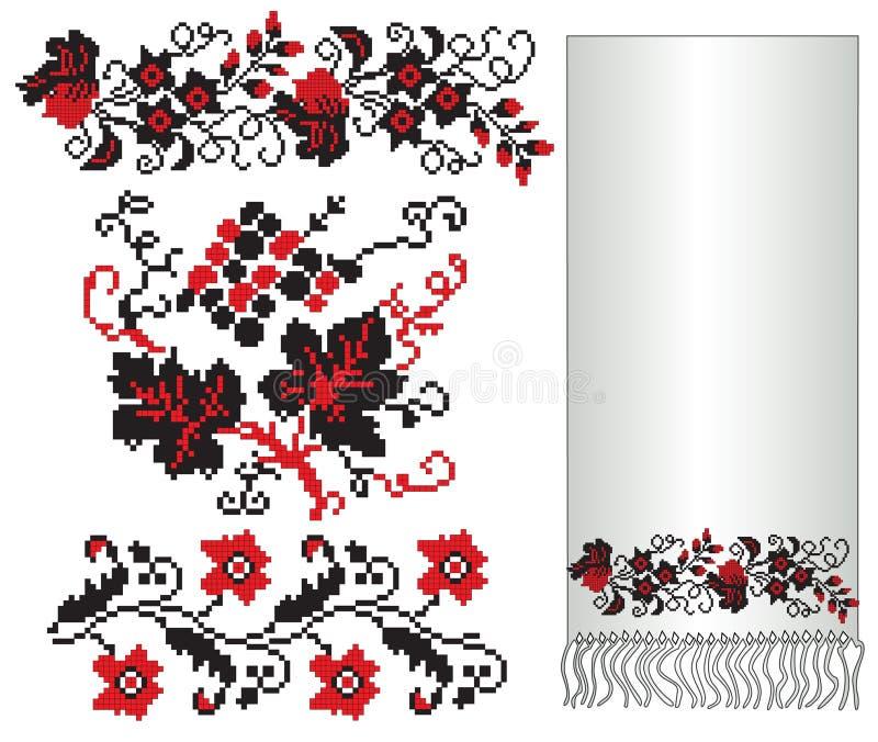 haftuje kwiatu winogrona ukrainian ilustracja wektor
