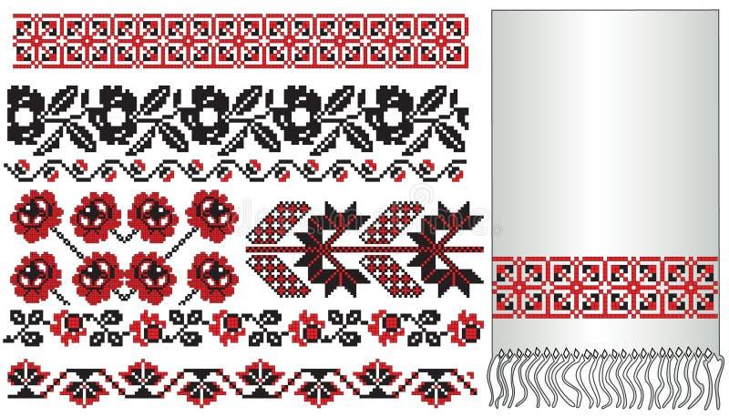 haftuje kwiaty ukraińskich ilustracja wektor