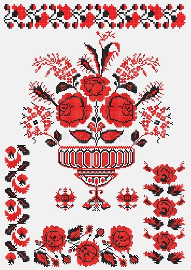 haftuje kwiaty urainian ilustracja wektor