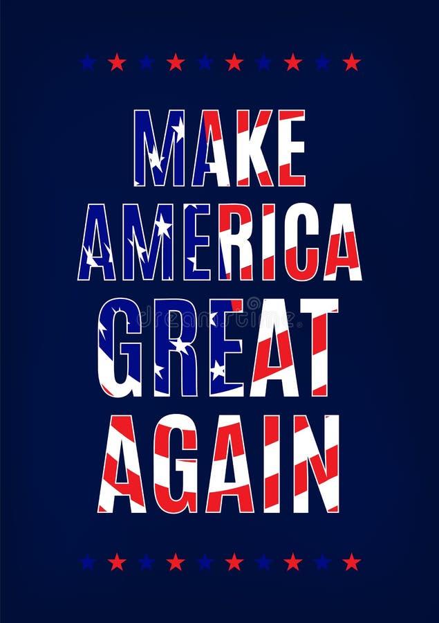 Haga América grande otra vez cardar la plantilla ilustración del vector