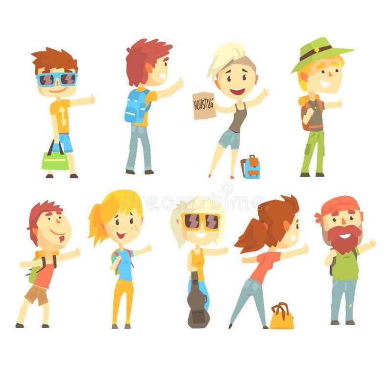 Haga autostop a la persona del viajero, fije para el diseño de la etiqueta Ejemplos coloridos detallados de la historieta stock de ilustración