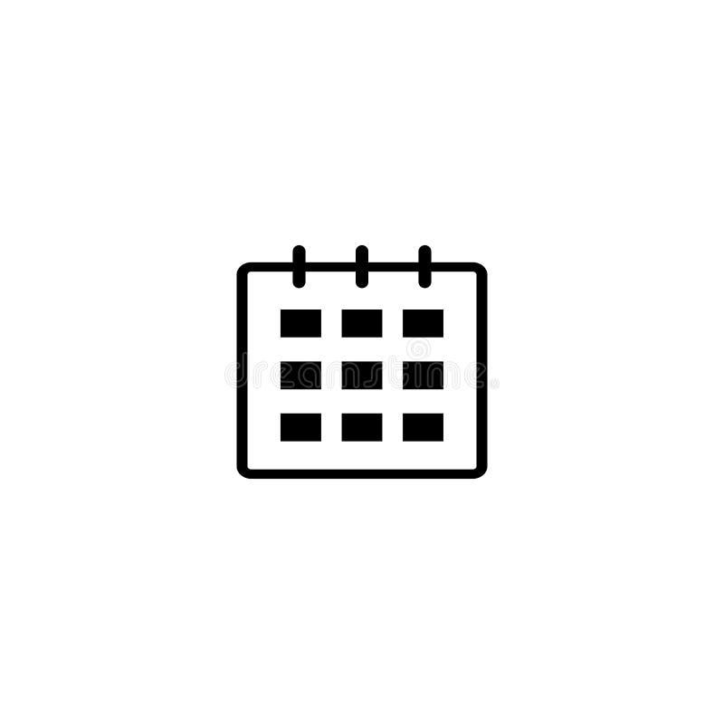Haga calendarios el icono El calendario aisló el icono móvil de la web plana, muestra, símbolo, botón, elemento, vector ilustración del vector