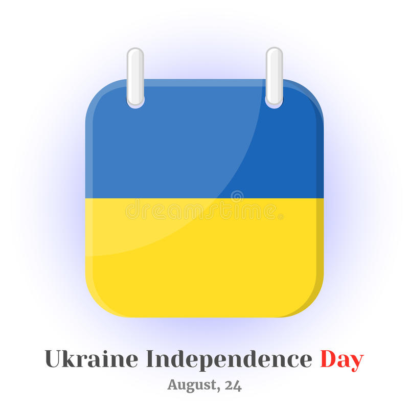 Haga calendarios el icono con la bandera ucraniana y las letras para su diseño stock de ilustración