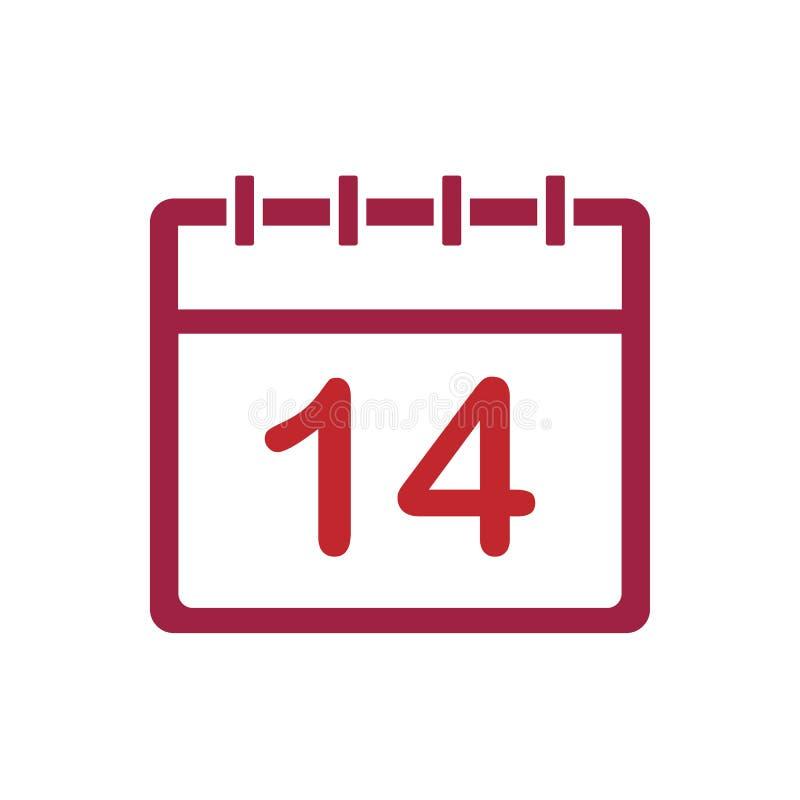 Haga calendarios el icono del vector del 14 de febrero Diseño plano Ilustración del vector ilustración del vector