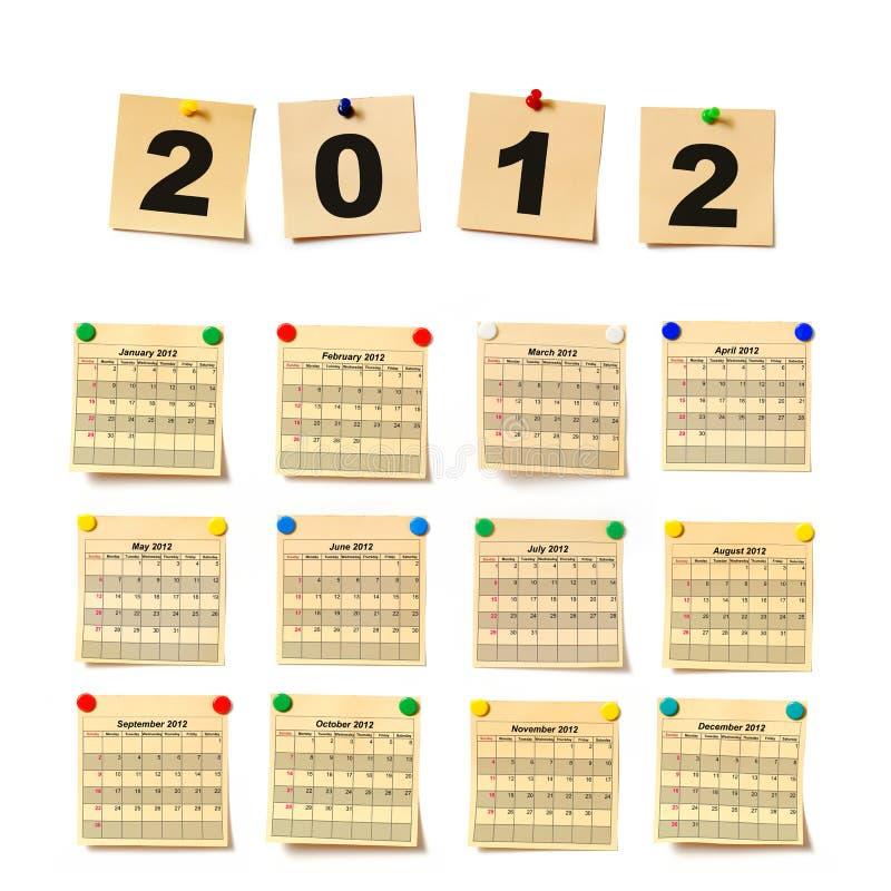 Haga calendarios en la nota 2012 del conjunto libre illustration