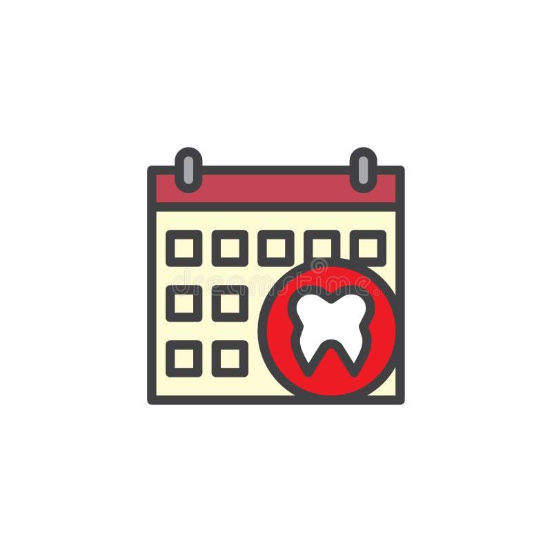 Haga calendarios la cita con el icono llenado diente dental del esquema stock de ilustración