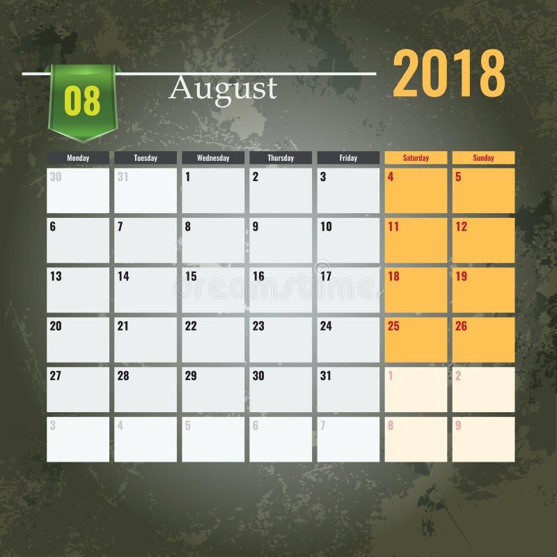 Haga calendarios la plantilla para el del 2018 el mes de agosto con el fondo abstracto del grunge ilustración del vector