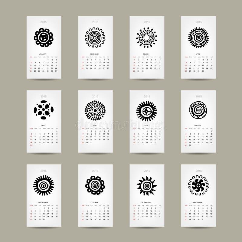 Haga calendarios la rejilla 2015 para su diseño, étnica libre illustration