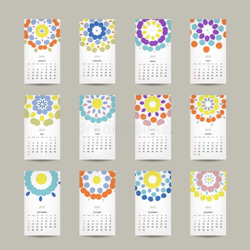 Haga calendarios la rejilla 2015 para su diseño, floral libre illustration