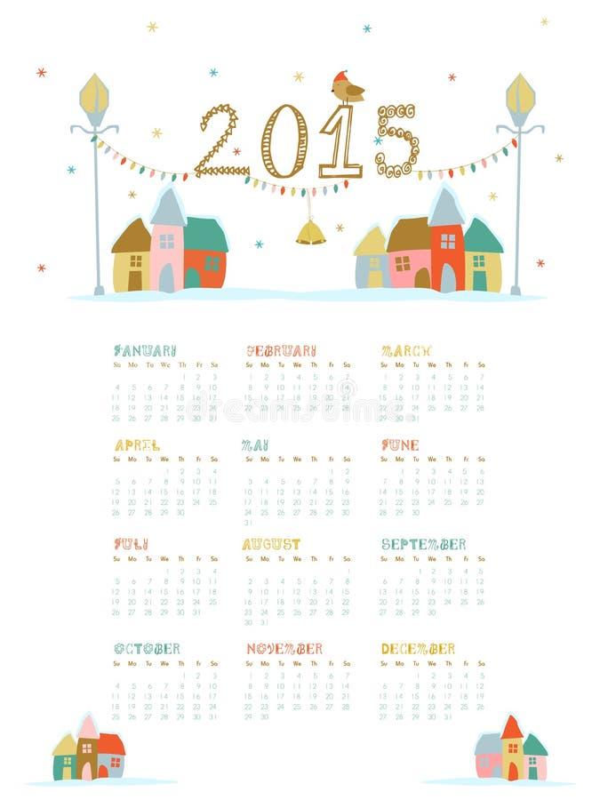 Haga calendarios para las celebraciones de la Feliz Año Nuevo 2015 ilustración del vector
