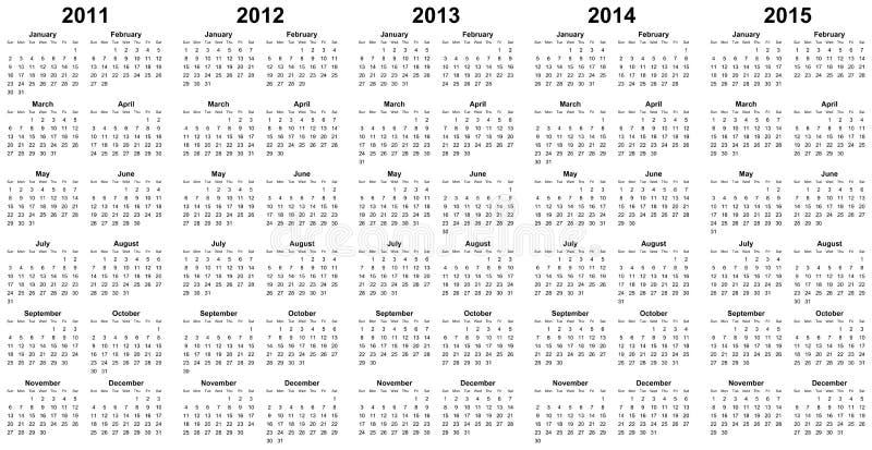 Haga calendarios por el año 2011, 2012, 2013, 2014, 2015 libre illustration