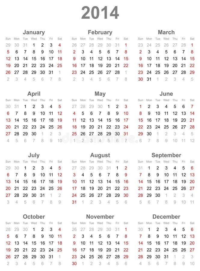 Haga calendarios por el año 2014 ilustración del vector