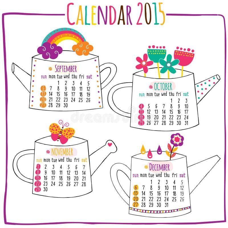 Haga calendarios 2015-September, octubre, noviembre, diciembre stock de ilustración