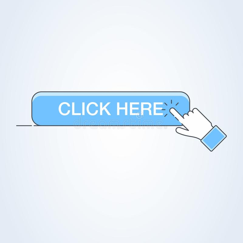Haga clic aquí el botón con el icono de la mano Símbolo del cursor de la muestra de la web del tecleo del vector ilustración del vector
