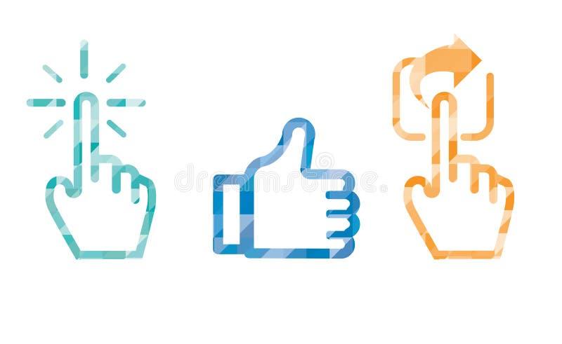 Haga clic como el icono en color azul, cursor de la parte de la mano y tenga gusto del pulgar ilustración del vector