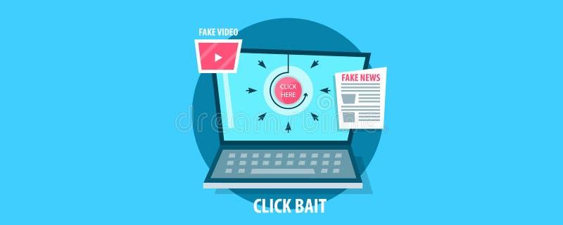 Haga clic el concepto del cebo, conduciendo tráfico del sitio web con la ayuda de noticias y de vídeos falsos Bandera plana del v stock de ilustración