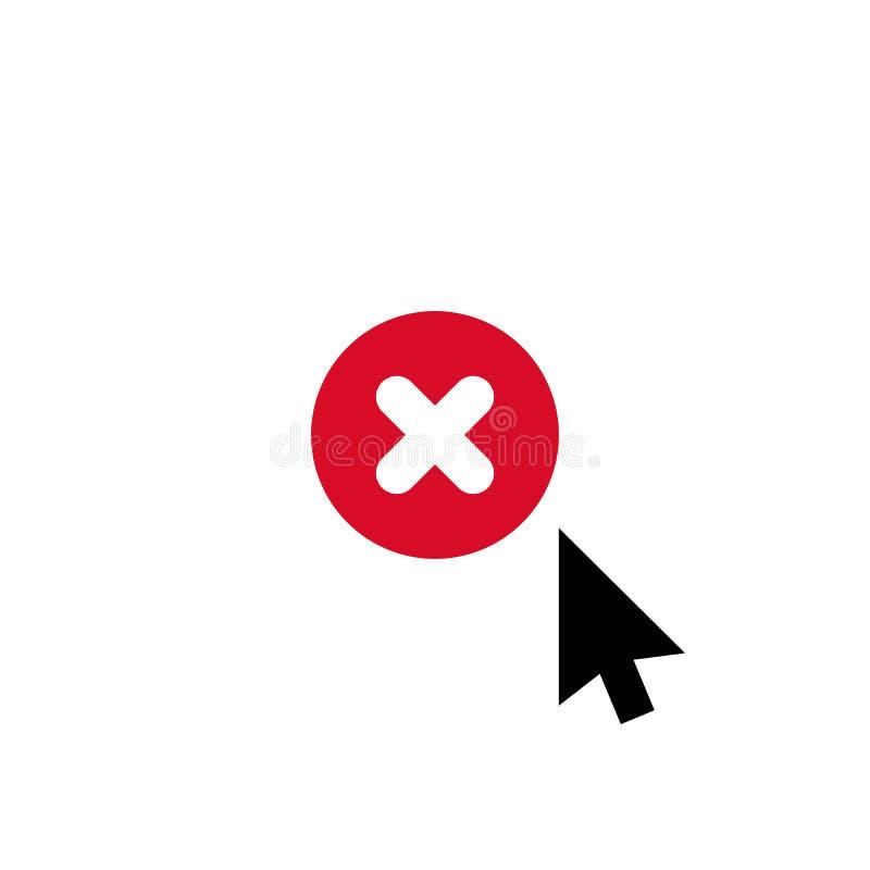 Haga clic el icono del vector, símbolo del cursor con la muestra de la cancelación El icono y el cierre, cancelación de la flecha ilustración del vector