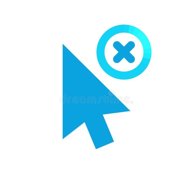 Haga clic el icono del vector, símbolo del cursor con la muestra de la cancelación El icono y el cierre, cancelación de la flecha stock de ilustración