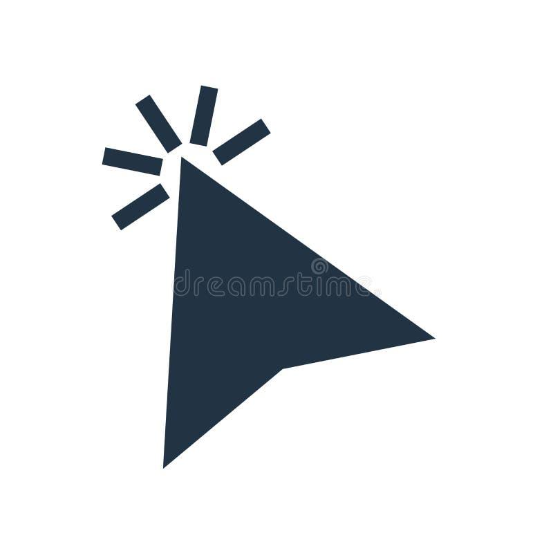 Haga clic el vector del icono aislado en el fondo blanco, muestra del tecleo ilustración del vector