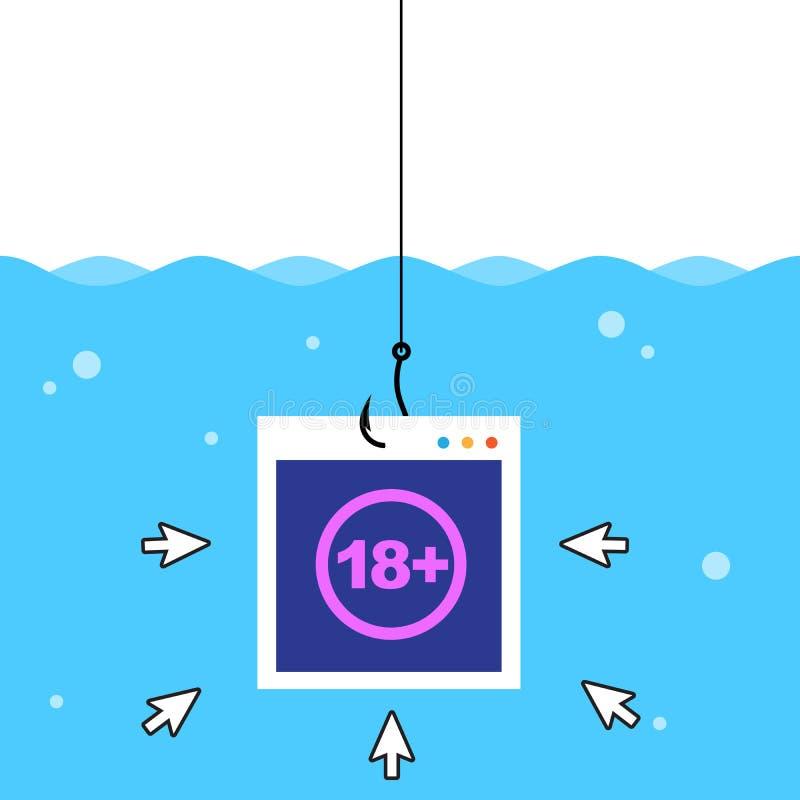 Haga clic en cebo dentro del agua con signo de adulto Ilustración de vectores aislados libre illustration