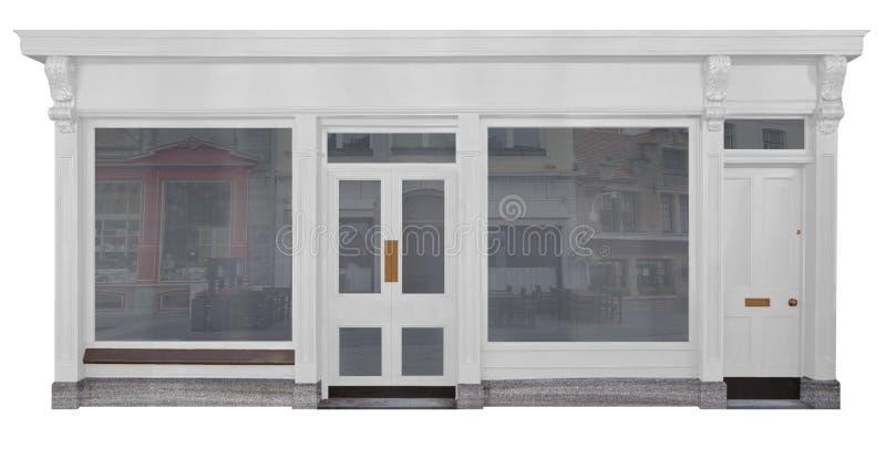 Haga compras con el recorte delantero de madera pintado blanco en el fondo blanco ilustración del vector