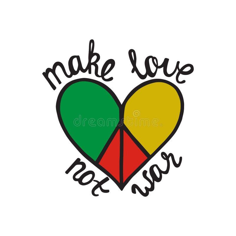 Haga el amor, no guerra Cita inspirada sobre paz ilustración del vector