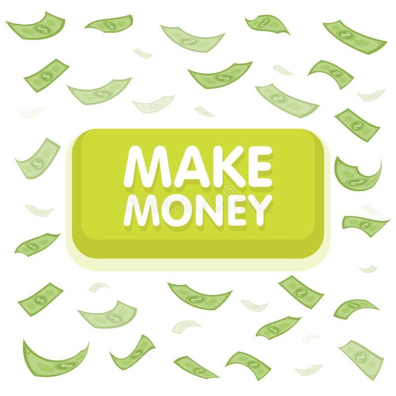 Haga el concepto del botón del dinero Lluvia del dinero del dólar El cientos volar de los billetes de banco Fondo inconsútil de l ilustración del vector