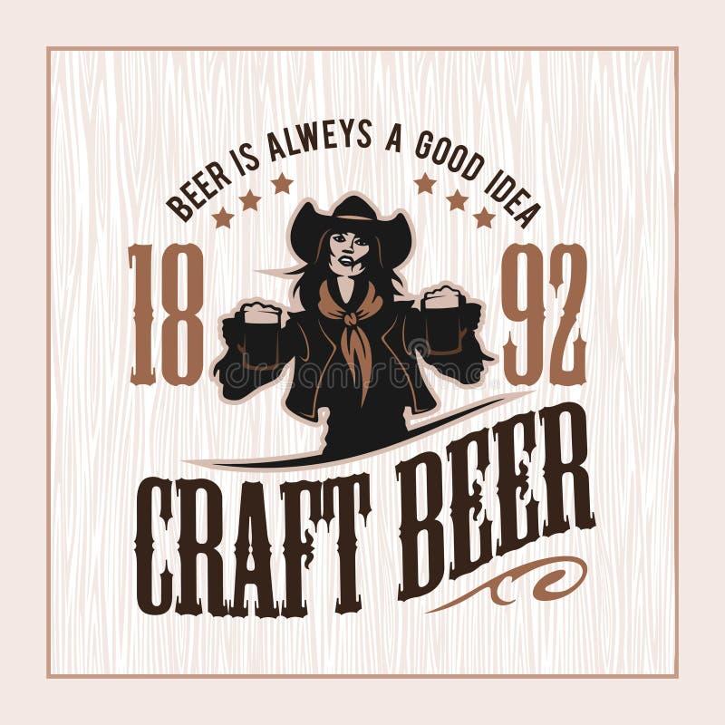 Haga el ejemplo del vector a mano de la insignia de la cerveza y de la muchacha, diseño de la cervecería del emblema stock de ilustración