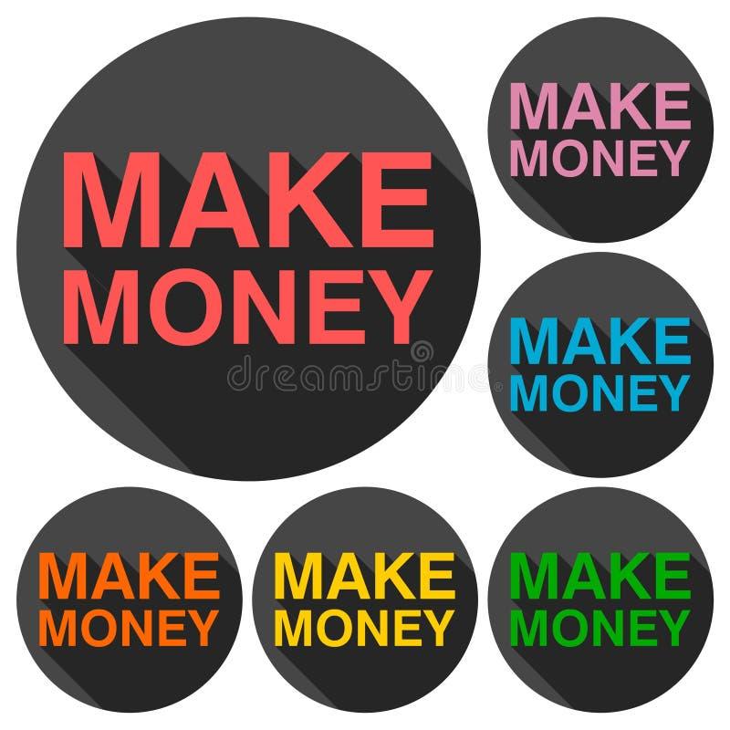Haga el icono del dinero con la sombra larga stock de ilustración