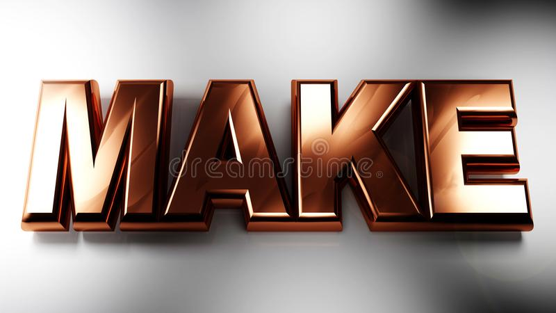 HAGA en 3D las letras de cobre - representación 3D ilustración del vector
