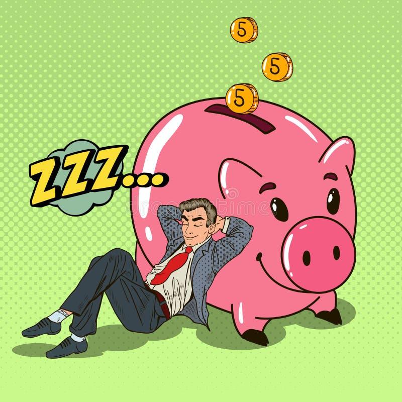 Haga estallar a Art Happy Businessman Sleeping cerca de guarro con abajo caido el dinero ilustración del vector