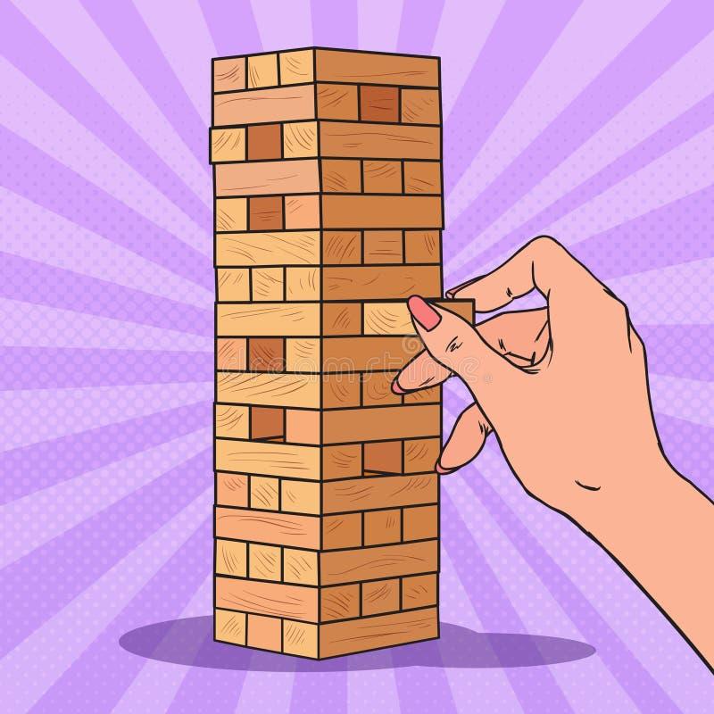 Haga estallar el bloque de madera de Art Female Hand Pulls hacia fuera en juego de tabla stock de ilustración