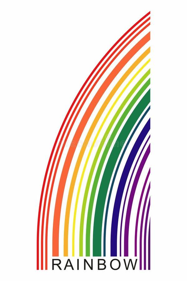 Haga fragmentos de un arco iris de consistir en l?neas coloreadas de diverso grueso Un arco iris es como un c?digo de barras ilustración del vector