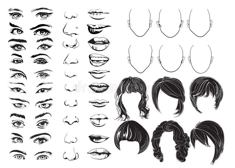 Haga frente al constructor, a los ojos, a los labios, a las narices y al pelo, piezas de la cara de la mujer del vector, carácter ilustración del vector