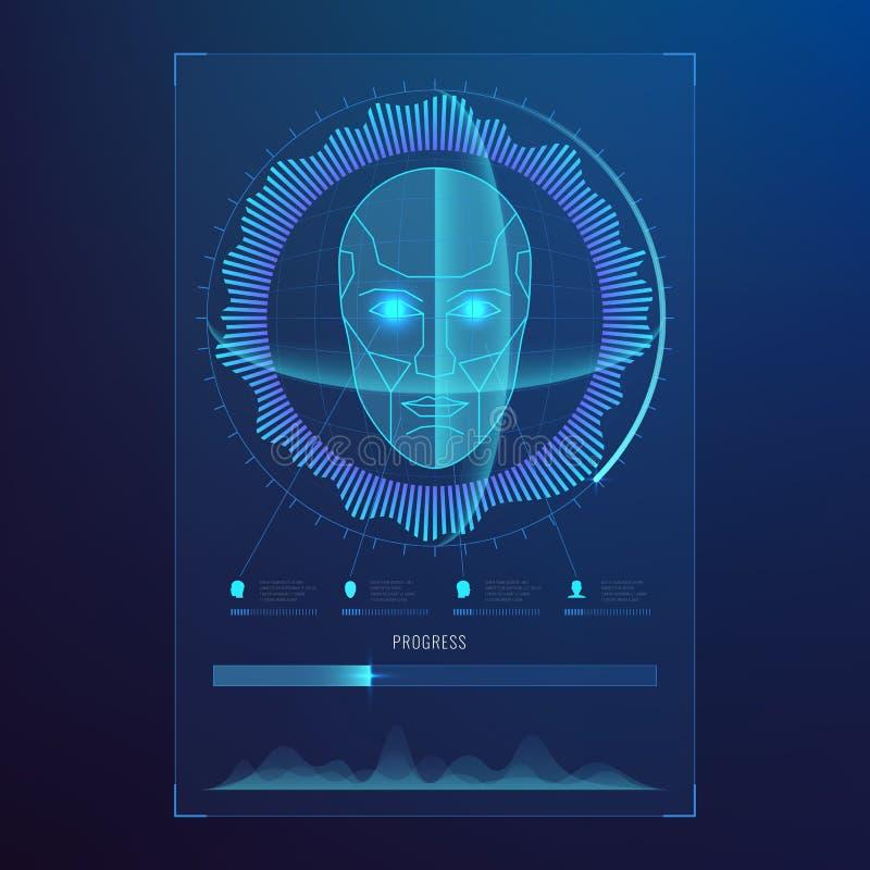 Haga frente al reconocimiento digital, exploración biométrica de las caras de la identificación al fondo futurista del acceso del ilustración del vector