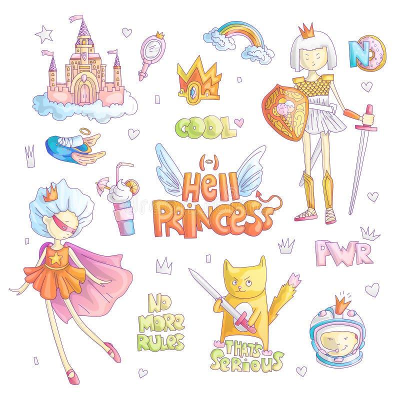 Haga frente al sistema de la historieta del vector de la princesa del infierno de la marimacho Magia de la princesa y ejemplo del stock de ilustración