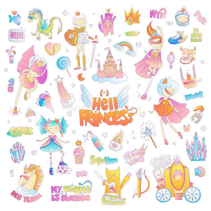 Haga frente al sistema de la historieta del vector de la princesa del infierno de la marimacho Magia de la princesa y ejemplo del libre illustration